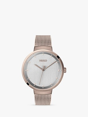 HUGO BOSS HUGO 1540004 Women's Go Mesh Bracelet Strap Watch, Rose Gold/Silver