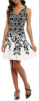 Maggy London Laced-Leaf Trim Printed Fit And Flare Dress