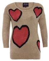 Brown Heart Print Jumper