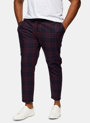 Topman BIG & TALL Burgundy and Navy Check Stretch Skinny Trousers*