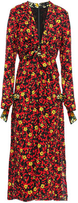 Proenza Schouler Knotted Floral-print Crepe Midi Dress