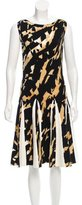 Blumarine Ruffle-Trimmed Patterned Knit Dress