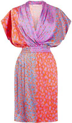 Tomcsanyi Heviz Drape Front Short Dress Blossom Cheetah