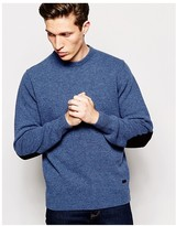 Barbour Jumper In Lambswool Crew Neck With Elbow Patches