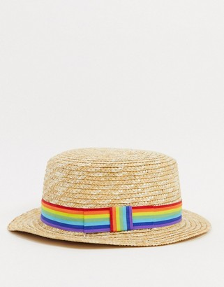 ASOS DESIGN straw hat with contrast rainbow band