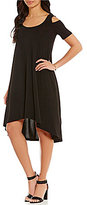 Jones New York Cold Shoulder Hi-Low Hem Trapeze Dress