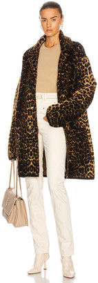 Saint Laurent Leopard Jacket in Noir & Camel & Marron | FWRD