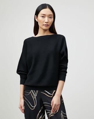 Lafayette 148 New York Cotton Silk Ribbed Asymmetric Sweater
