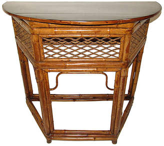 One Kings Lane Vintage Bamboo Demilune Table - Adam Babicz Antiques