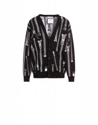 Moschino All Over Zip Wool Cardigan Man Black Size 44 It - (34 Us)
