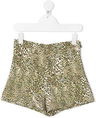 Elisabetta Franchi La Mia Bambina High-Waisted Leopard Print Shorts