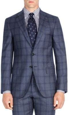 Isaia Windowpane Wool Suit