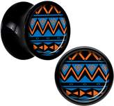 Body Candy Black Acrylic Blue Tribal Print Saddle Plug Set 0 Gauge