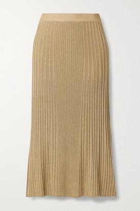By Malene Birger Orista Metallic Ribbed-knit Midi Skirt