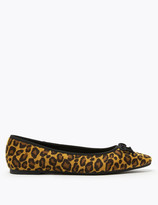 Marks and Spencer Leopard Print Pointed Toe Ballerina Pumps