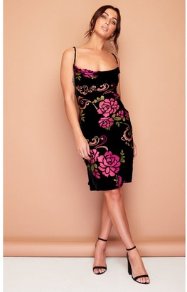Wired Angel Kate Slip Dress in Pink Floral Silk Burn out