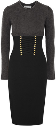 Altuzarra Ursula Two-tone Lace Up-detailed Knitted Dress