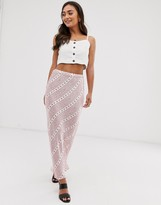 Ghost harper satin floral maxi skirt