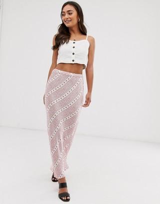 Ghost harper satin floral maxi skirt