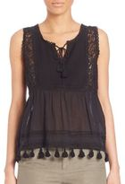 Joie Owen Cotton Gauze Embroidered Tank