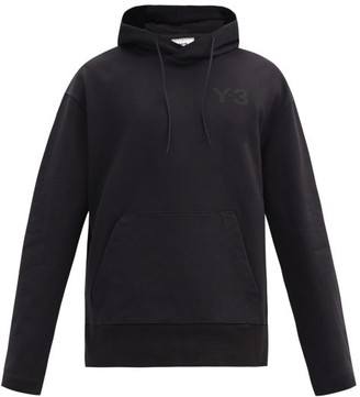 Y-3 Logo-print Cotton-jersey Hooded Sweatshirt - Black