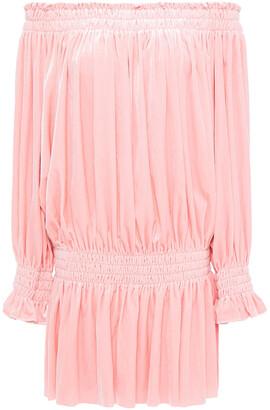 Norma Kamali Off-the-shoulder Shirred Stretch-velvet Mini Dress
