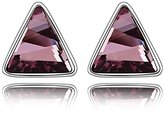 Miki&Co Silver Swarovski Elements Women's Crystal Triangle Earrings, with a Gift Box