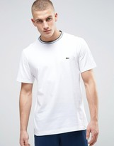 Lacoste Tipped Neck T-Shirt Croc Logo Regular Fit in White