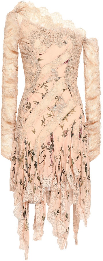Zimmermann Off-the-shoulder Lace And Floral-print Silk-georgette Dress