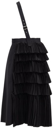 Noir Kei Ninomiya Asymmetric-strap Pleated Wool Skirt - Black
