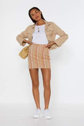 Nasty Gal Womens The Finish Line Striped Mini Skirt - Beige - 8, Beige