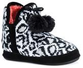 Muk Luks Women's Pennley Leopard Print Pom Pom Bootie Slippers