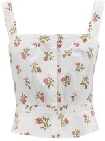 Thierry Colson Rossa Cropped Floral-print Cotton Top - Womens - White Print