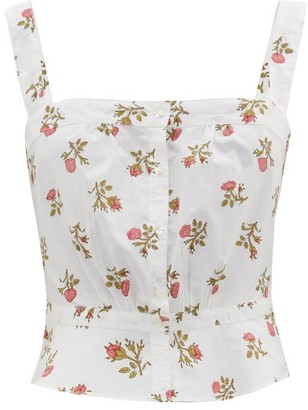 Thierry Colson Rossa Cropped Floral-print Cotton Top - White Print