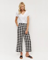 Jaeger Linen Gingham Cropped Trousers
