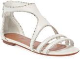Alaia Flat Beaded Back-Zip Sandals