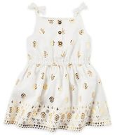 Carter's Size 6M 2-Piece Foil Print Dress and Diaper Cover Set in White/Gold