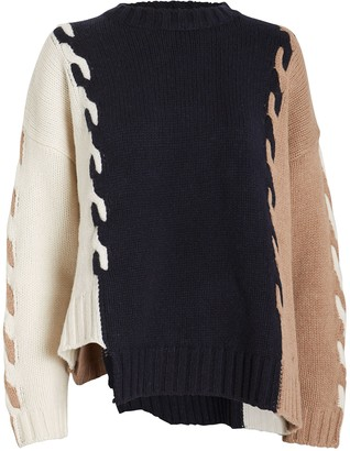 Monse Colorblocked Cable Knit Sweater