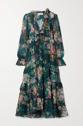 Zimmermann Tiered Ruffled Floral-print Silk-chiffon Midi Dress - Petrol