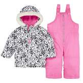 Carter's Infant Girl 2 Piece Snow Bibs Winter Coat Set Animal Print Snowsuit 18m
