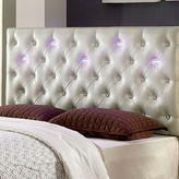 Everly Joaquin Led Lighting Upholstered Panel Headboard Quinn Size: Twin, Color: Pearl White