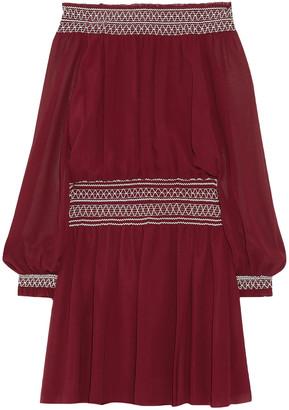 Tory Burch Indie Off-the-shoulder Silk-georgette Mini Dress