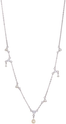 Carolee Donna Sterling Silver CZ & Freshwater Pearl Station Necklace