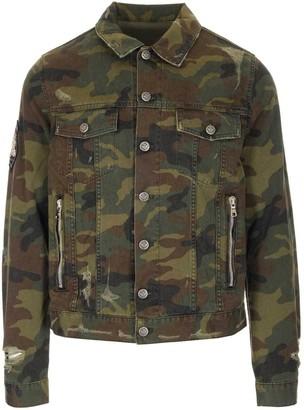 Balmain Camouflage Zipped Denim Jacket