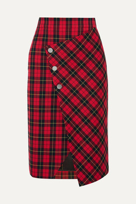 Maje Janty Asymmetric Tartan Twill Wrap Skirt - Red