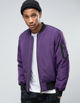 Asos Bomber Jacket With Ma1 Pocket In Purple With Silver Zips