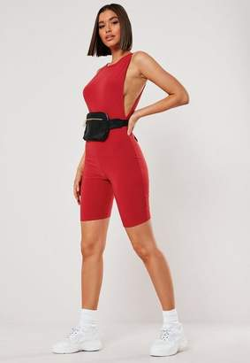 Missguided Red Slinky Drop Armhole Unitard
