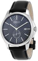Gucci G-Timeless Automatic Grey Dial Black Leather Men's Watch YA126319