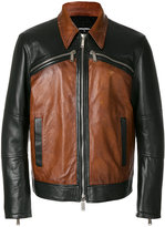 DSQUARED2 panelled jacket - men - Cotton/Leather/Polyester - 48
