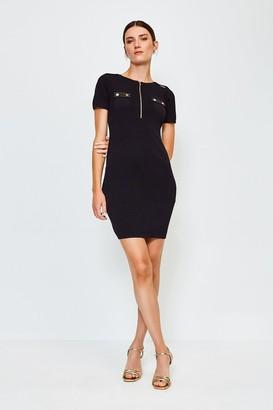 Karen Millen Zip Front PU Trim Knitted Dress